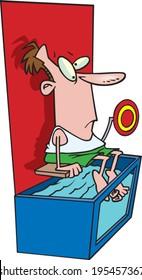 cartoon man sitting on a dunk tank