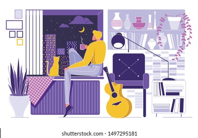 Cartoon Man Sitting on Window Sill with Cat, Looking City Night Sky, Moon Star Vector Illustration. Boy Holding Tea Cup in Hand. Romantic Mood. Room Interior, Guitar Musical Instrument