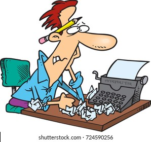 cartoon man sitting at a typewriter frustrated