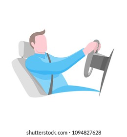 Cartoon man sitting at the wheel of vehicle vector illustration. Profile of boy wearing seat belt in automobile. Flat style design. Isolated on white background