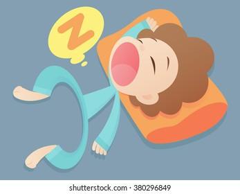 Cartoon man is sleeping