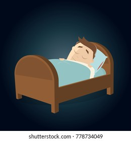 cartoon man sleeping in bed clipart