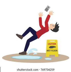 cartoon man slip while using mobile phobe on wet floor. vector