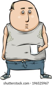 A cartoon man is a slob as he enjoys his coffee.
