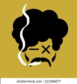 cartoon of man smoking marijuana