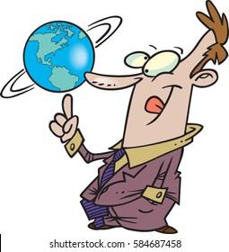cartoon man spinning the globe