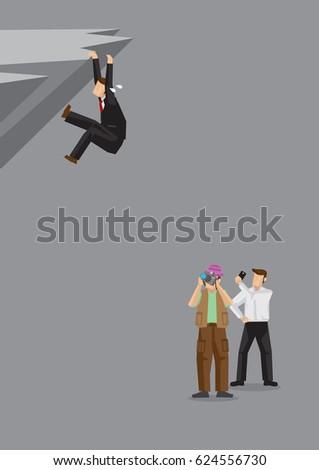 cartoon man struggling dangerously cliff bystanders stock vector