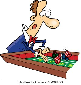 cartoon of a man in a suit playing craps/ gambling