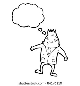 cartoon man in suit with thought bubble