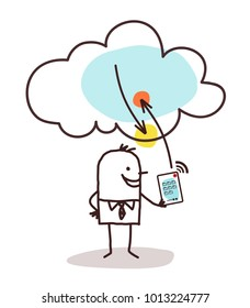 Cartoon Man with Tablet and Cloud Connexion