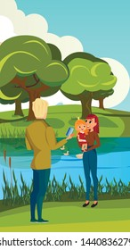 Cartoon Man Take Picture Woman with Girl Vector Illustration. Father Photo Mother Baby Daughter on River Bank. Nature Park Countryside. Mom and Child. Happy Family Wife Husband Vacation