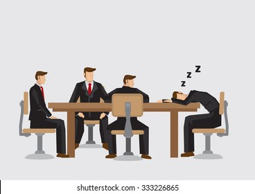 Cartoon man taking a nap during boring business meeting. Vector illustration isolated on plain background.