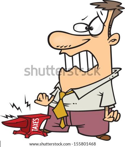 cartoon man tax anvil on his のベクター画像素材 ロイヤリティフリー