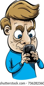 A cartoon man texting and reading on his mobile smartphone with an intense facial expression.