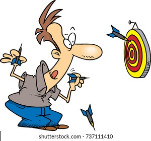 cartoon man throwing darts at a target board