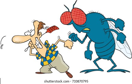cartoon man trying to swat a huge housefly
