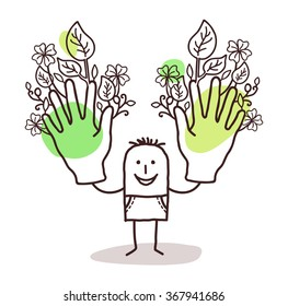 cartoon man with two big green hands