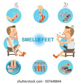 Cartoon man unpleasant odor of socks and sneakers on his feet. Vector illustration