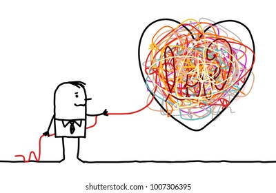 Cartoon Man Untangling a Big Doodle Heart