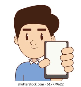 Cartoon man vector. Mobile cartoon.