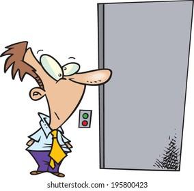 cartoon man waiting for an elevator