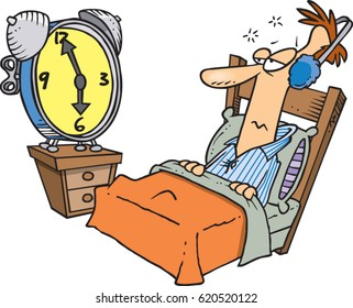 cartoon man waking up to an alarm clock