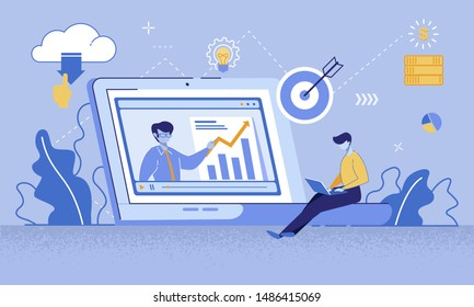Cartoon Man Watching Online Course on Laptop. Coach Teaching Financial Literacy, Target Marketing, Increase Profit Ways on PC Screen. Video Tutorial. Education via Internet. Vector Flat illustration