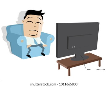 cartoon man watching tv