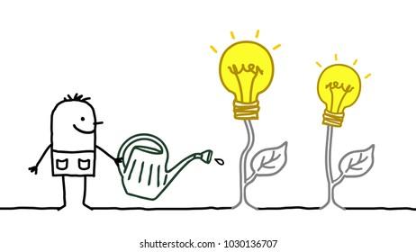 Cartoon Man Watering Growing Ideas