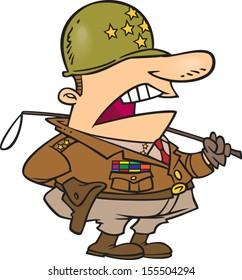 Cartoon man wearing an army uniform