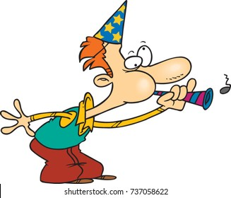 cartoon man wearing a party hat and blowing into a party horn