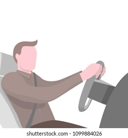 Cartoon man wearing seat belt driving the car vector illustration. Flat style design with copy space isolated on white background