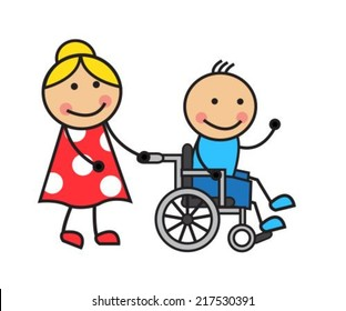 Cartoon man in a wheelchair and a woman wheelchair wheels