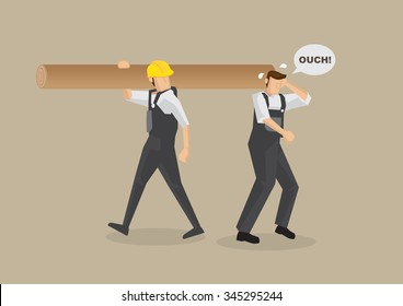 Cartoon man without work helmet gets hit on the head by worker carrying log on shoulder. Vector illustration on workplace accident concept isolated on plain brown background.