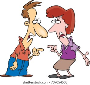 cartoon man and woman in an argument