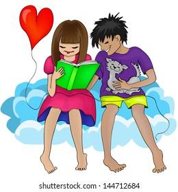 Cartoon Man Woman and Book.Vector Illustration
