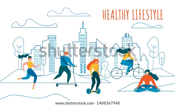 Cartoon Man and Woman Cycling, Run, Jogging, Ride Scooter Hoverboard, Meditate Outdoors Vector Illustration. City Building Silhouette on Background. Physical Activity Sport Training, Healthy Life
