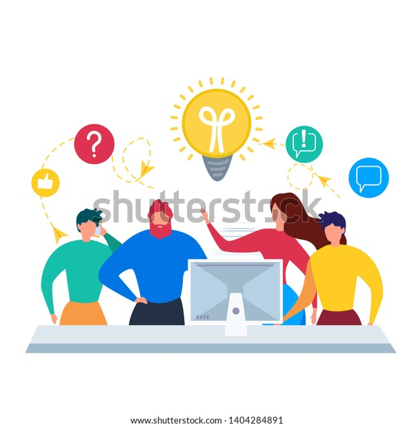 Cartoon Man and Woman Discuss Work Problem to Find Solution Vector Illustration. Office Room Interior. Male Female Worker Team Communication. Creative Idea Cooperation. Creativity Strategy Teamwork