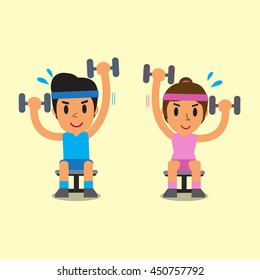 Cartoon man and woman doing alternate seated dumbbell press exercise