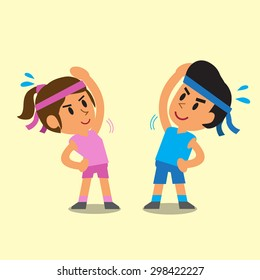 Cartoon a man and a woman doing side bend stretch exercise