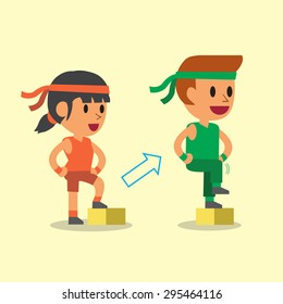 Cartoon a man and a woman doing step-ups exercise step training