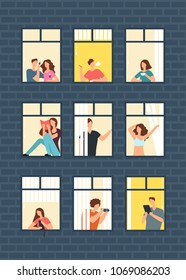 Cartoon man and woman neighbors in apartment windows in building. Happy neighborhood vector flat concept. Building window with man or woman character illustration