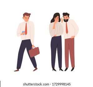Cartoon man and woman office worker gossiping about colleague vector flat illustration. Male and female talking and whispering together isolated on white. Business people spreading rumors at work