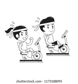 Cartoon a man and a woman riding recumbent exercise bikes for design.