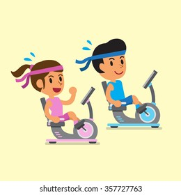 Cartoon a man and a woman riding recumbent exercise bikes