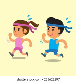 Cartoon a man and a woman running together