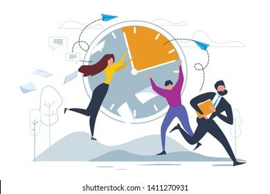 Cartoon Man and Woman Stop Clock Hands. Businessman Run Vector Illustration. Paper Sheet Fly, Deadline Stress. Time Management. Paperwork Overload, Document Work Problem. Man Woman Office Worker