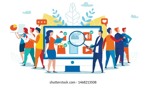 Cartoon Man and Woman Team Work with Network Applications Icons on PC Monitor Analyzing Popularity and Social Activity. Feedback Consumer, Customer Review Evaluation. Vector Isolated Flat Illustration