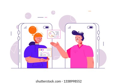 Cartoon man and woman video chatting online. Girl and boy communicate via internet application using mobile application vector illustration. Social media and communication concept