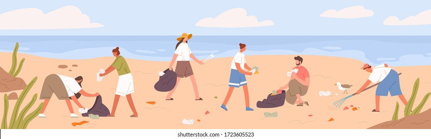 Cartoon man and woman volunteers collecting trash into bags. Colorful people clean beach from pollution and garbage. Group of active people cleaning seaside. Ecology protection movement